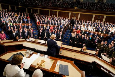 U.S. President Donald Trump walks to the lectern to deliver the State of the Union address at the U.S. Capitol on February 4, 2020 in Washington, DC. President Trump delivers his third State of the Union to the nation the night before the U.S. Senate is set to vote in his impeachment trial.