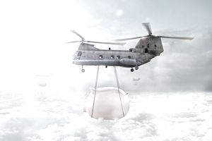 Helicopter carrying piggy bank