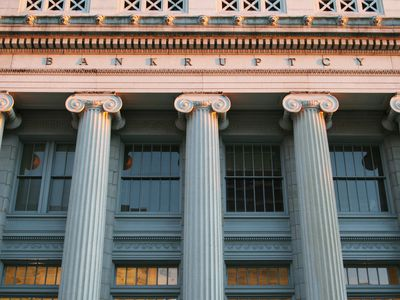 The courthouse for bankruptcies in Dayton, Ohio, showing Ionic-style columns and the word
