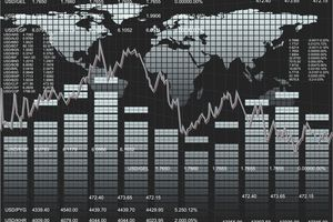 Worldwide trading chart and map