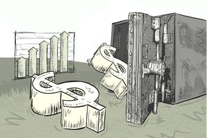 Illustration of dollar bill signs entering a bank vault to symbollize open market operations