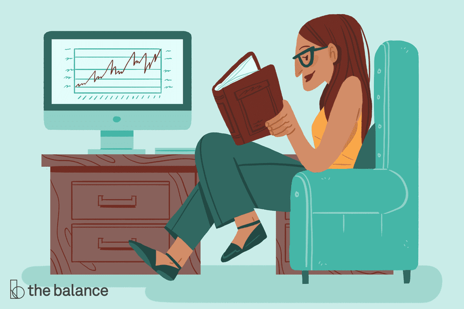 Image has no text, and shows a woman sitting in a chair reading a book. Beside her is a nightstand with a desktop on it showing a positive growth chart.