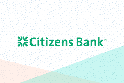 Citizens Bank logo on a pastel background.