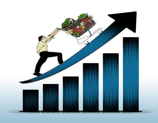 Illustration of man pushing grocery cart upward on rising arrow of prices