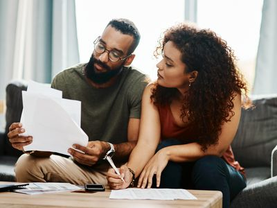 Couple looking at paperwork together