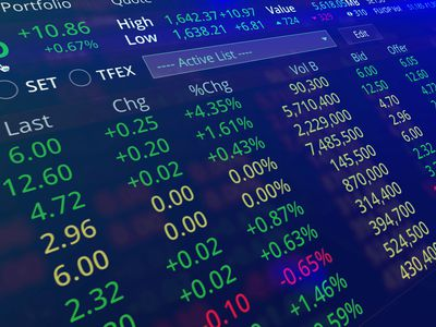 Multicolored screen showing stock prices