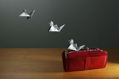 currency in the shape of birds flying out of an open wallet