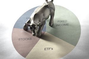 A bronze bull on top of a pie chart with sections labeled stocks, ETFs, and fixed income.
