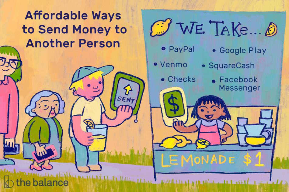 "This illustration describes affordable ways to send money to another person including ""PayPal,"" ""Venmo,"" ""Checks,"" ""Google Play,"" ""SquareCash,"" and ""Facebook Messenger."""