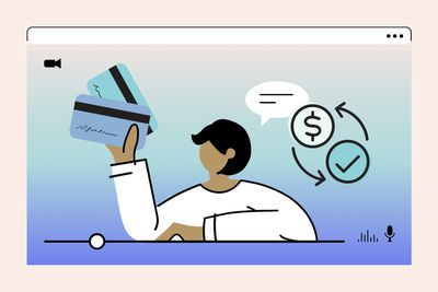 illustration of person on video screen holding credit cards, surrounded by money symbols