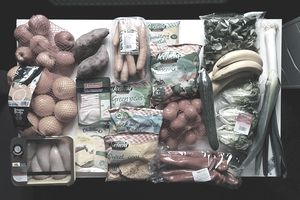 groceries on a table
