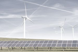 View of solar panel and wind turbines