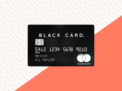 The front face of the Mastercard Black Card over a multicolor background.