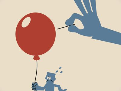 Illustration of a blue hand with a needle popping a red balloon