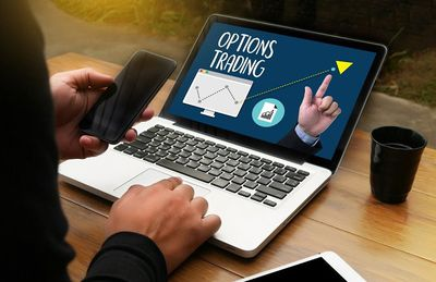 Options trading on a laptop