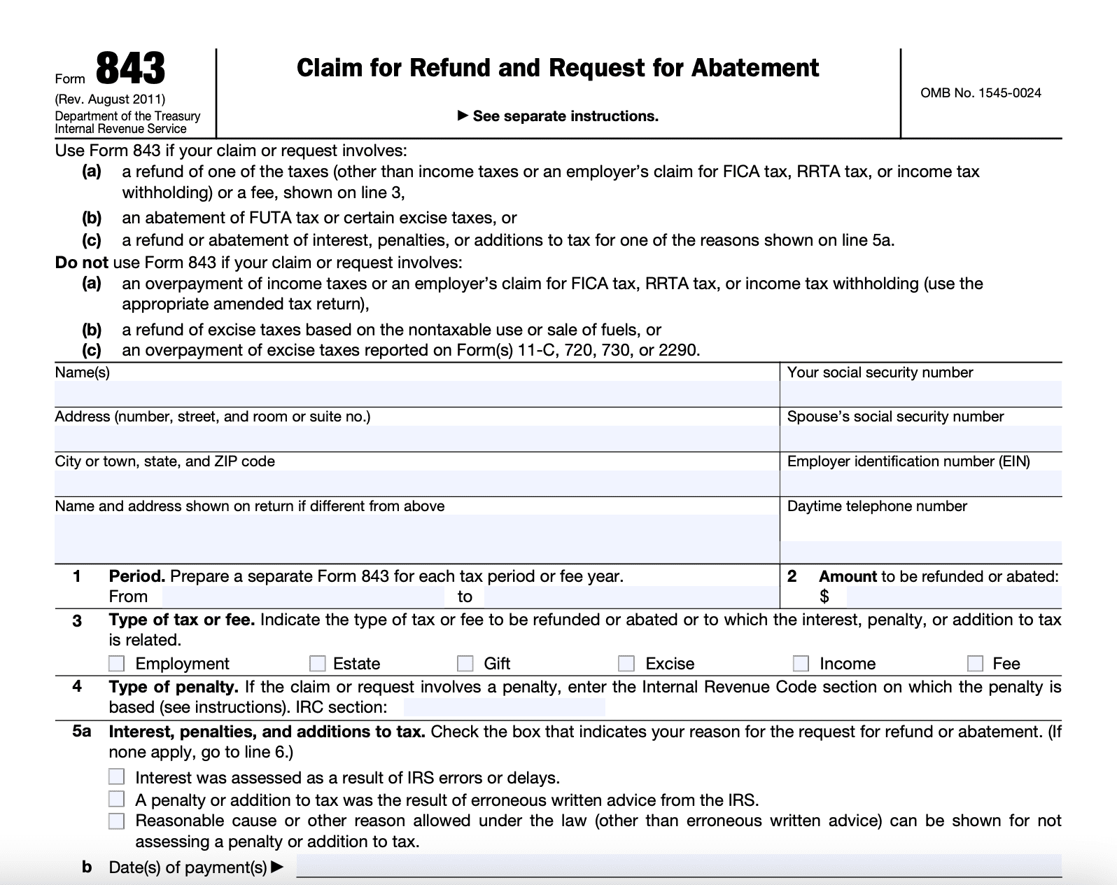 IRS Form 843: Claim for Refund and Request for Abatement
