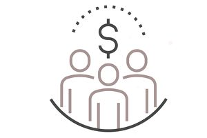 Crowdfunding illustration with dollar sign and stick figures