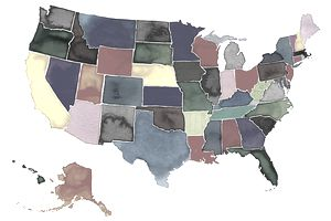 colorful map of the US showing the different states