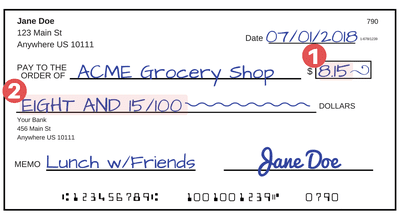 Sample Check With Highlighted Area Where The Amount Is Written In Dollars And Cents