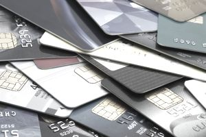 A pile of ATM, debit and credit cards