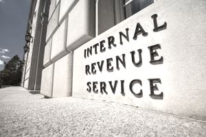 Closeup of the IRS building in Washington