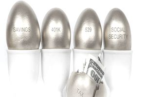 Golden savings, 401K, 529, social security, and cracked tax eggs in egg holders, depicting how Social Security taxes can affect 401(k) or IRA withdrawals