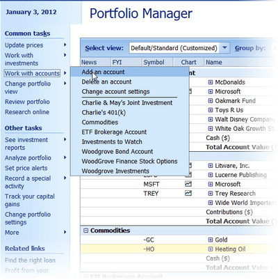 add portfolio in microsoft money plus sunset deluxe