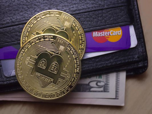 Bitcoin with wallet and credit card