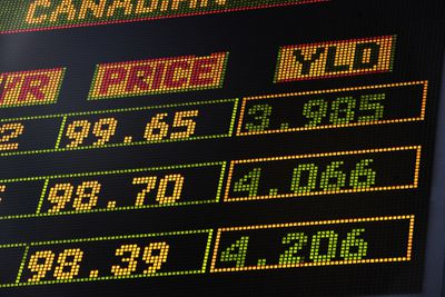 bond prices and yield rates lit up on board