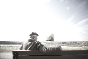 Retired couple sitting on bench looking at sunny autumn view