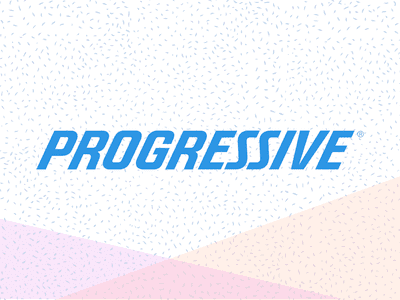 Progressive Insurance logo in blue letters on a speckled background