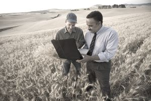 Farmer and grain buyer create a futures contract for the grain crop