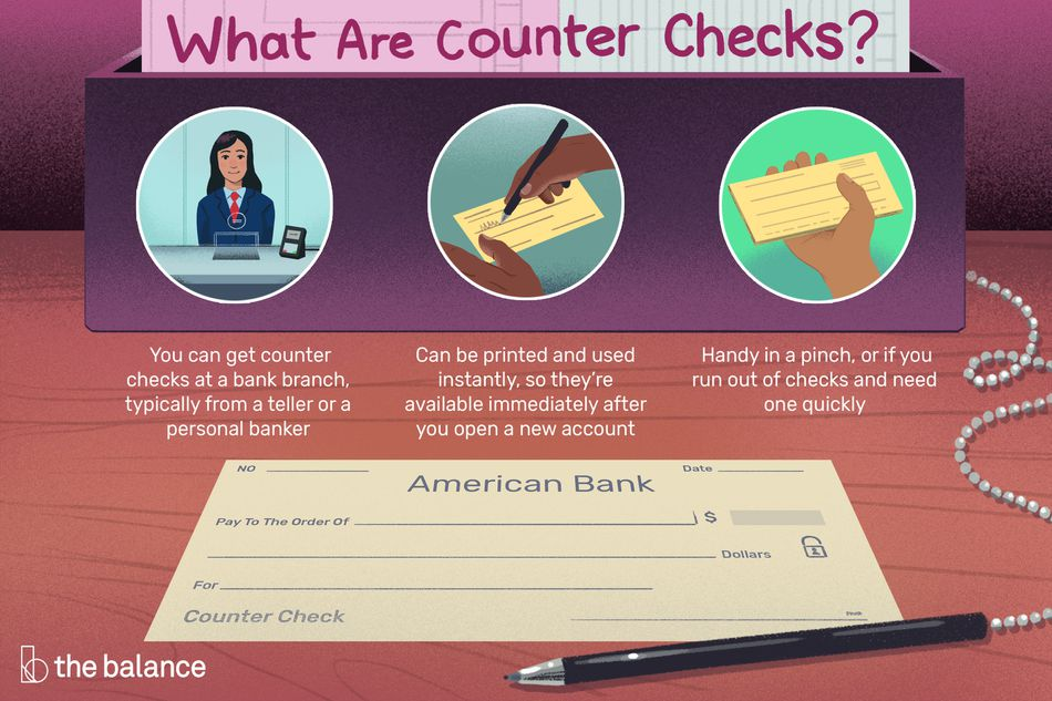 Image shows a counter-check and a pen on a string sitting on a wooden table. The images above show a bank teller, a hand filling out a check, and someone holding the check. Text reads: