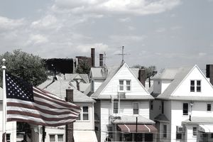 Row houses and American flag in Brooklyn