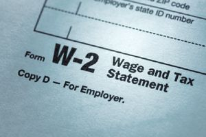 Closeup of the bottom of a W-2 Wage and Tax Statement