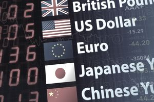 a display of world currency rates
