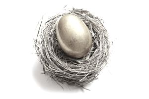 Golden egg laying in a bird's nest representing saving for retirement.