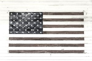 American flag painted on old wood