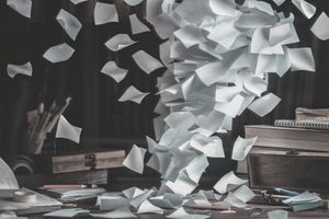 Workplace tornado of paper