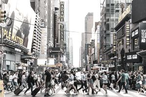 Crowded intersection on a busy downtown street