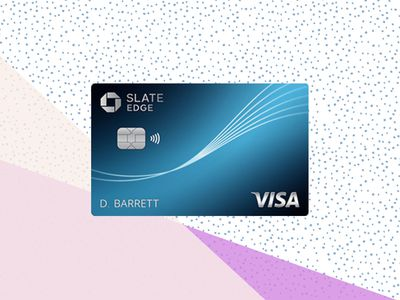 The chase slate Edge credit card on a tri-color background