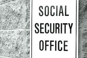 Social Security Office wall sign on building
