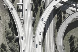 Aerial view of cars driving on freeway