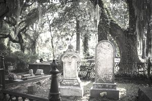 Tombstones and gravesite at Bonaventure Cemetery, Savannah, Georgia