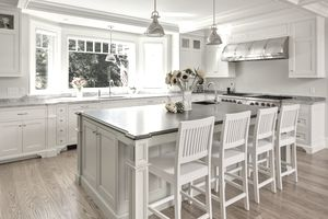 modern farmhouse kitchen with island seating area