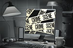 Identity Theft Crime at Home Computer on Internet