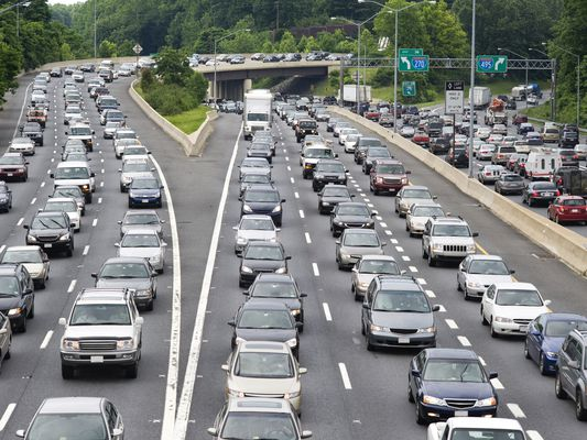 Cars in a Washington DC traffic jam on the Beltway