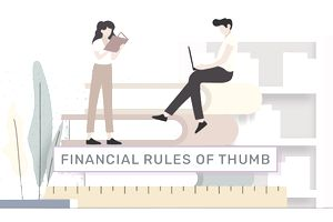 """graphic showing two people on top of stack of books with a ruler and pencil. the words """"financial rules of thumb"""" are in the middle"""