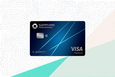 The Chase Sapphire Preferred credit card on a tri-color background.