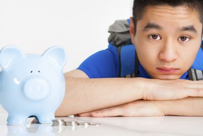 Pay for college blue piggy bank